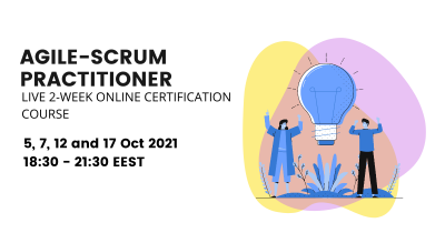 Online Agile and Scrum Franework practical certification course. Agile values and principles. Scrum events, scrum roles, scrum artefacts. Scrum Master, Product Owner.